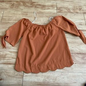 Brown/orange off the shoulder blouse
